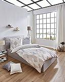 Kaeppel Sweet Home Mako Satin Bettwäsche Expression Größe 155x220+80x80 cm Farbe Taube