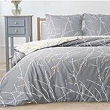 Bedsure Bettwäsche Grau & Beige 135x200cm Bettbezug mit Zweige Muster, Super Weiche Atmungsaktive Mikrofaser Bettwäsche, 2-teilig mit Reißverschluss 1 Kissenbezug 80x80cm
