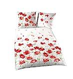 Träumschön Blumen Bettwäsche 135x200 | Mohnblumen Design | 100% Baumwoll Bettwäsche 135x200 | Bettbezug 135x200 & Kissenbezug 80x80 | Tolle Sommerbettwäsche