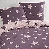 Aminata - Bettwäsche Sterne 135x200 cm Baumwolle + Reißverschluss zum Wenden Sternenmotiv Sternchen Stars Lila Violett Rosa Pink Wendebettwäsche 2-teiliges Bettwäscheset Ganzjahr Normalgröße Mädchen
