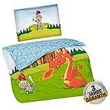 Aminata Kids Baby-Wende-Bettwäsche-Set Ritter Drache 100-x-135-cm Jungen - Baumwolle - hell-blau, bunt - weiches Material, kräftige Farben, Marken-Reißverschluss & Öko-Tex