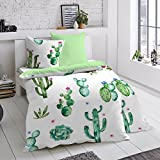 Dormisette Mako-Satin Wendebettwäsche Kaktus 1 Bettbezug 135x200 cm + 1 Kissenbezug 80x80 cm