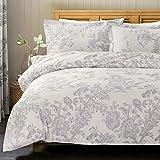 Bedsure Vintage Bettwäsche 135x200cm Weiß & Grau Bettbezug Retro schicke Blumen & Vogel Muster mit Reißverschluss 1 Kissenbezug 80x80cm Super Weiche Atmungsaktive Mikrofaser Bettwäsche