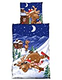 one-home 2 TLG Flausch Bettwäsche 135 x 200 cm Winter Elch blau Thermofleece