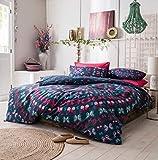 Linensrange Schmetterling Mandala Dark Teal Steppdecke Bezug 50% Polyester 50% Baumwolle Bettwäsche Set (Super King)
