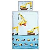 Aminata Kids - Baby-Bettwäsche-Set 100-x-135-cm - Bagger-Motiv, Baustelle - Junge - Kinder-Bettwäsche aus Baumwolle - hell-blau, bunt - mit Marken-Reißverschluss & Öko-Tex