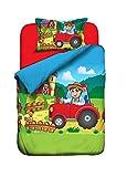 Aminata Kids Baby-Bettwäsche-Set roter Traktor | 100-x-135-cm | Jungen, Mädchen | Bauernhof-Kinder-Bettwäsche aus 100-% Baumwolle | grün, blau, bunt | mit Marken-Reißverschluss & Öko-Tex