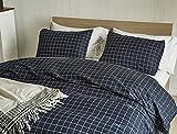 Lanqinglv Marineblau Weiß Bettwäsche 135x200cm Männer 2teilig Reißverschluss Kariert Muster Bettwäsche Renforce Bettbezug Deckenbezug Bügelfreie mit Kissenbezüge 80x80cm (GJ,135x200)