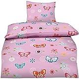 Aminata Kids - Kinder-Bettwäsche-Set 135-x-200 cm Schmetterling-e-Motiv Fee-n Wand-deko Wand-Tattoo Blume-n | 100-% Baumwolle Renforce | Reißverschluss | rosa pink | Teenager Jugendlich-e