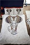 Samburu Bettwäsche-Set inkl. Einzelbettbezug mit Elefantenmotiv und 1Kissenbezug, bunt, gewagt, ethnisches Design, indisch, Grau