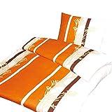 4-tlg. Microfaser Bettwäsche Ada orange/creme mit Reißverschluss 2x 135x200 Bettbezug + 2x 80x80 Kissenbezug, Öko-Tex Standart 100