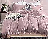 Boqingzhu 155 x 200 2 Teilig Romantische Bettwäsche Damen Uni Rosa 100% Weich Angenehm Mikrofaser 1 x Bettbezug 155 x 200 cm mit Reißverschluss und 1x Kissenbezug 80 x 80 cm