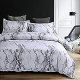 Bettwäsche Bettbezug Set 135x200cm Weiß Grau Marmor Muster Modern Style Mikrofaser Bettbezug mit Reißverschluss Schließung Bettwäsche-Set für Jungen und Mädchen