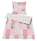 Bettwäsche Baumwolle Patchwork Print 2 teilig Garnitur 135x200 80x80 cm mit Reißverschluß #1359 (rosa)
