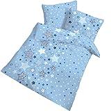 STERNE Fein Biber Babybettwäsche Kinderbettwäsche Jungen  STARS Sterne & Sternchen blau, himmelblau - 2 teilig Kissenbezug 40x60 + Bettbezug 100x135 cm - 100 % Baumwolle - hergestellt in Deutschland