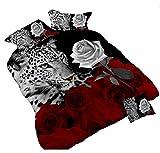 3D Leopard Weiß und Rot Rose Bettwäsche-Set Floral Prints 4Piece Bettbezug Größe Tröster Set für Doppelbett