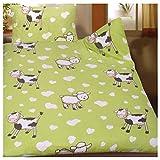 Baby Kinder Sommer Bettwäsche 100 x 135 + 40x60 cm, Motiv: Kühe und Schafe, für Kinderbett, Microfaser (42920)