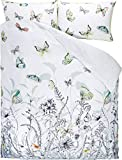 DESIGNERS GUILD Wendebettwäsche Papillons Birch Satin weiß-grau-grün Größe 135x200 cm (80x80 cm)