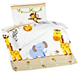 Aminata Kids Baby-Bettwäsche-Set Zoo-Tiere 100-x-135-cm für Mädchen, Jungen Kinder-Bettwäsche mit AFFE & Elefant aus Baumwolle bunt, Weiss, mit Marken-Reißverschluss & Öko-Tex
