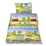 Aminata Kids Kinder-Bettwäsche Baustelle Bagger Auto Biber 100x135 cm Jungs hell-blau Autos BAU-Fhrzeug-e Betonmischer Baumwolle Reissverschluss Biba süss-e
