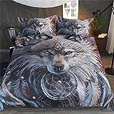 DXSX Bettwäsche Bettbezug 3D Wolf Theme Muster Bettbezug und Kissenbezug Easy Care Kinder Jungen Teenager Männer Bettwäsche (Grauer Wolf, 135x200cm)