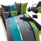 Erwin Müller Bettwäsche, Bettgarnitur mit Wende-Kissenbezug Single Mako-Jersey, 100% Baumwolle grün-blau-grau, Größe 135x200 cm (40x80 cm) - pflegeleicht, bügelfrei, mit Reißverschluss