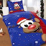 Bettwäsche Elch Thermofleece 135x200 2tlg Set Weihnachten Winter Flausch