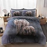 Eirene Threadz Bettwäscheset mit Kissenbezug, Baumwollmischgewebe, bedruckt mit Elefanten-, Katzen- und Einhorn-Design, Polycotton, elefant, Einzelbett
