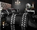 GC Designer Bestickte Luxus Flavia/Bettbezug Bettwäsche Set mit Kissen, Polycotton, schwarz, King Size