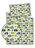 Kinderbettwäsche Elefanten 2-tlg. 100% Baumwolle 40x60 + 100x135 cm mit Reißverschluss (grün)