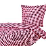 Hans-Textil-Shop Seersucker Bettwäsche 135x200 80x80 cm Karo 5x5 mm Rot (Mit Reißverschluss, Bügelfrei)